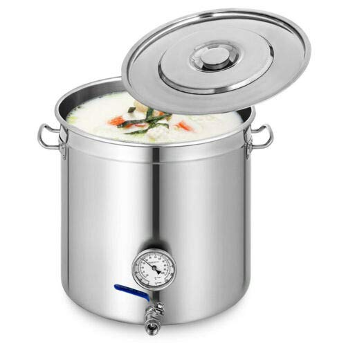 Olla universal de acero inoxidable de 98 L, para inducción, con tapa, termómetro, grifo, cantina, verduras, para sopas, guisos, chile y otros platos húmedos