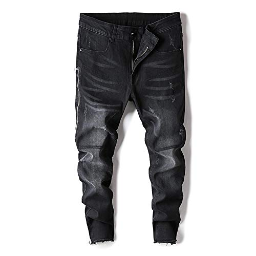 ShFhhwrl Vaqueros de Moda clásica High Street Geometric Falso Cremalleras JeansSlim Mid Coated Straight Midweight Full Length