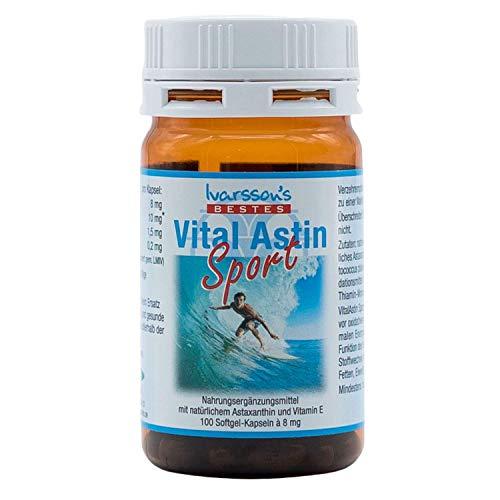 Astaxanthin I 100 Kapseln I Ivarssons VitalAstin SPORT I 8 mg natürliches Astaxanthin I Sonnenschutzkapseln mit Vitamin E I pflanzlicher Zellschutz I natürlicher Sonnenschutz