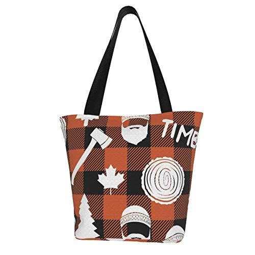 Bolsa de lona personalizable, diseño de búfalo de madera de leñador, a cuadros, color naranja, lavable, para la compra, para mujer