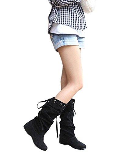 Minetom Donna Neve Stivali Autunno Inverno Calzature Female Moda Flats Half Boots (Nero EU 36)