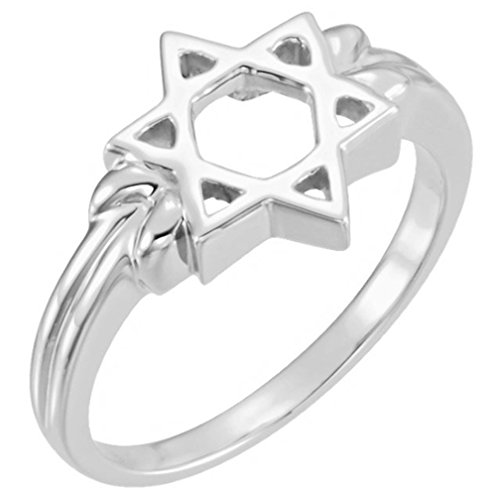 The Men's Jewelry Store (Unisex Jewelry) 14k White Gold Star of David 12mm Ring, Size 6.25