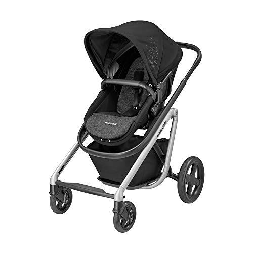 Maxi-Cosi Lila Kinderwagen, hochwertiger, zusammenklappbarer Sportwagen mit Liegeposition und ergononomischem Sitzverkleinerer, nutzbar ab der Geburt bis ca. 3,5 Jahre, nomad black