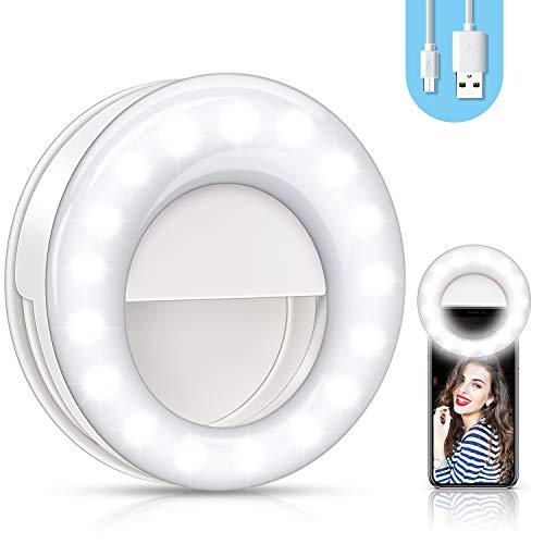 ring light selfie 【2020 Nuovo】Selfie Ring Light,Luce Selfie,Anello autoscatto Ricaricabile a 48 LED,Lampada Anulare Regolabile
