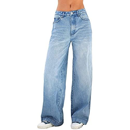 FUZUAA Y2k Jeans a Vita Alta per Donna Pantaloni Larghi e Dritti Pantaloni in Denim per Halloween Streetwear (Color : Blue, Size : M)