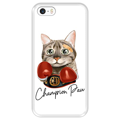 Hapdey Custodia per [ Apple iPhone 5 5S SE ] Disegni [ Gatto di Boxe Carino Atletico - Champion Paw ] Cover Guscio in Silicone Flessibile Transparente TPU