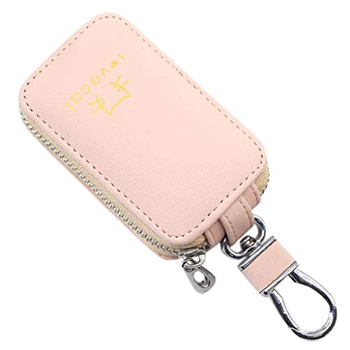 Women's Multifunction Key Case Fashion Outdoor Solid Color Leather Zipper Bags