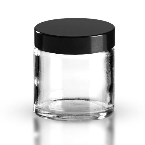 10 x Glastiegel Klarglas 60ml / Salbentiegel / Cremetiegel inkl. Schraubverschluss Bakelit schwarz 51mm/R3