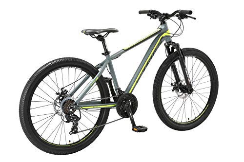BIKESTAR Hardtail Aluminium Mountainbike Shimano 21 Gang Schaltung, Scheibenbremse 26 Zoll Reifen   16 Zoll Rahmen Alu MTB   Grau Gelb