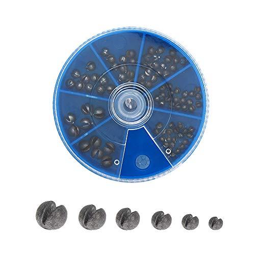 Croch ガン玉セット おもり 釣り 90個セット 丸型 割ビシ 6サイズ入(0.8/0.4/0.36/0.18/0.12/0.06g) QZ02