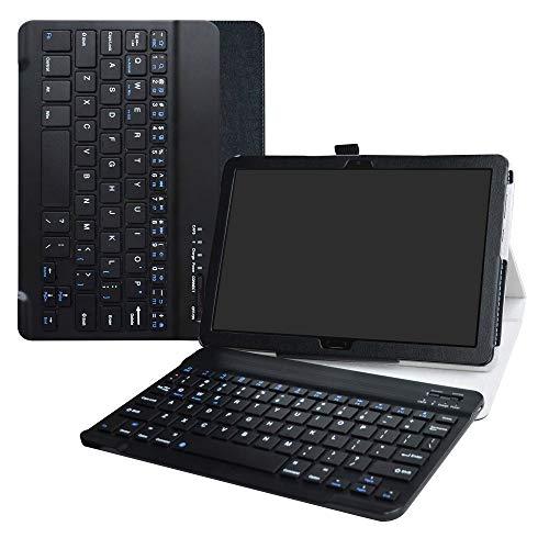 MediaPad M5 Lite Bluetooth Teclado Funda,LiuShan Detachable Wireless Bluetooth Teclado (Teclado QWERTY Formato inglés) PU con Soporte Caso para 10.0' Huawei MediaPad M5 Lite 10 Android Tablet,Negro