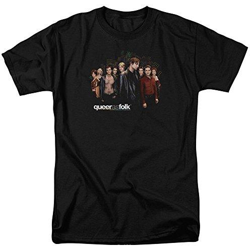 Queer As Folk Drama TV Series Title Cast Group Shot Brian Michael Adult T-Shirt Black