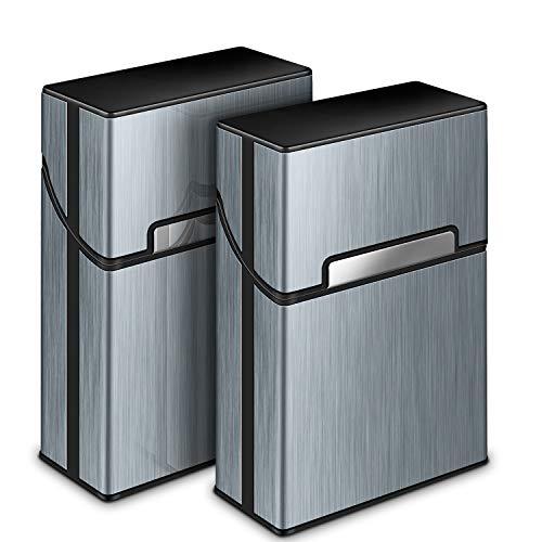 Zigarettenetui, Yosemy 2 Stück Zigarettenbox Metall mit Magnetverschluss, Zigarettenetui aus Alu, Verstärktem Kunststoffgehäuse & Einrast Funktion Für 20er Standard Schachteln (Grau)