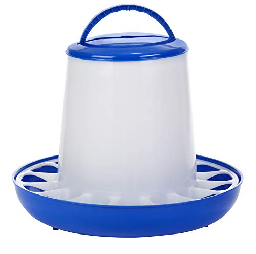 Plastic Poultry Feeder (Blue & White) - Durable Feeding Container with Carrying Handle for Chickens & Birds (15 Lb) (Item No. DT9856)