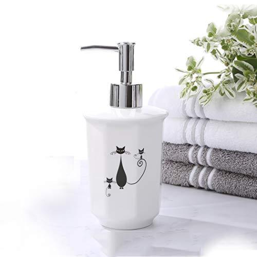 Jjzhb Dispensador de jabón de Manos 375 ml Proceso de cocción de Porcelana de Nieve Líneas Elegantes Dispensadores de loción con Bomba de Plata (Size : B)