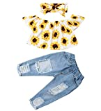 Baby Girl Autumn Clothes Toddler Infant Ripped Jeans Outfit Lace Long Sleeve Crop Top Shirt+ Bell Bottom Flare Leggings Pants (12-18M, Yellow)