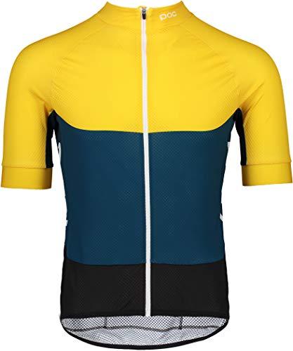 POC Sport Mannen Essentiële Road Licht Jersey Fietsen, Sulfiet Geel/Draconis Blauw, XL