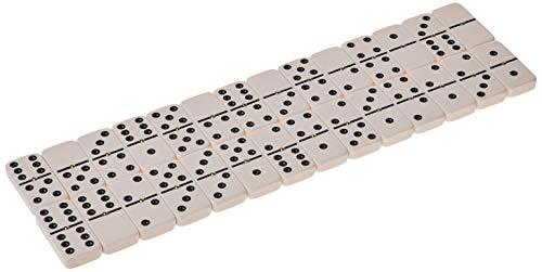 Double 6 Jumbo Size Domino Tiles with Spinner in Vinyl Case Black