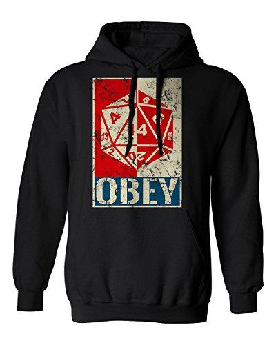 RIVEBELLA New Graphic Shirt Obey The Dice D&D Novelty Tee Dungeons Men's Hoodie Hooded Sweatshirt (Black, L)