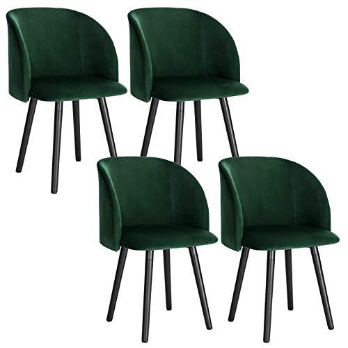 WOLTU 4 x Esszimmerstühle 4er Set Esszimmerstuhl Küchenstuhl Polsterstuhl Design Stuhl mit Armlehne, mit Sitzfläche aus Samt, Gestell aus Massivholz, Dunkelgrün BH121dgn-4
