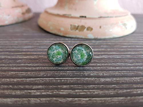 DEinSchwesterherz Ohrstecker Cabochon Damen Schmuck Ohrringe grün Blätter Palmenwedel 10mm 12mm