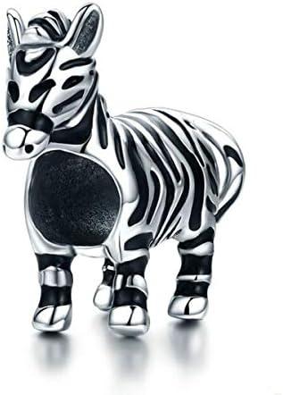 Animal Charm Bracelets for Women Sterling Silver Monkey Bear zebra Rabbit Unicorn Charms for product image