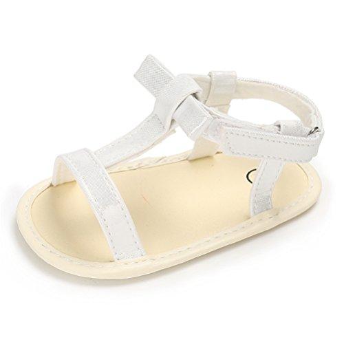 Baby Mädchen Sommer T-Strap Sandale Kleinkind Weiche Sohle Offene Zehe Turnschuhe Sandalen Mit Bowknots (12-18 Monate, Weiß)