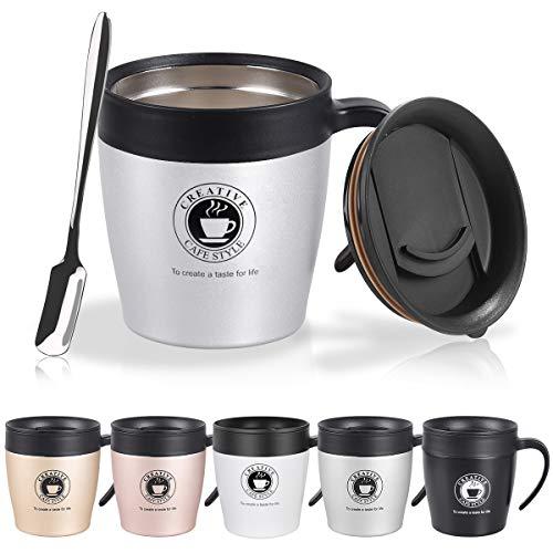 Vabaso 330ml Thermobecher Kaffee to Go Becher in 5 Farben inkl, Kaffeebecher Thermo mit BPA-frei Deckel,Griff und Kleine Kaffeelöffel, Doppelwand Isolierung, Edelstahlbecher für Zuhause Schulen Büros
