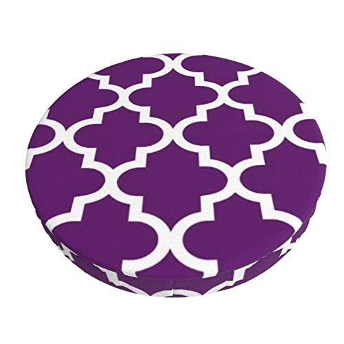 Funda de Asiento para Silla Patrón de cuatrifolio marroquí Morado y Blanco Material Ploiéster Duradero Fundas Decorativas para sillas de Comedor 13in