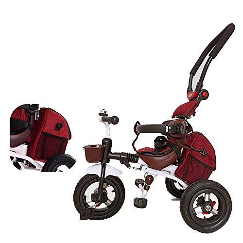 YumEIGE driewieler opvouwbaar titanium leeg wiel met mamabeutel, standaard kinderwagen driepunts veiligheidsgordels afneembare armleuning belasting 25 kg kinderdriewieler rood
