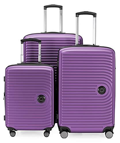 HAUPTSTADTKOFFER - MITTE - Set di 3 valigie - Bagaglio a mano con ruote da 55 cm, Valigia di medie dimensioni da 68 cm + Valigia grande da 77 cm, ABS, combinazione TSA, Viola