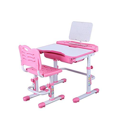 YFC 3-teiliges Kinder-Schreibtisch-Set, Kinderschreibtisch Mit Sichtschutzplatine, Studententisch mit Lampe und Bücherständer (Color : Rosa, Größe : Without Light)
