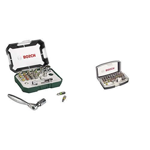Bosch Professional 2607017322 Puntas de destornillador + trinquete (juego de 26) + 2607017319 Set de 32 Unidades para atornillar, 0 W, 0 V