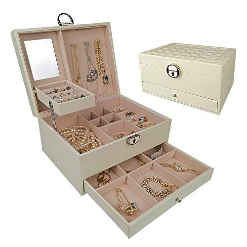 DOURR - Caja organizadora de joyas para mujer, con espejo de bloqueo, 3 capas, piel sintética, expositor, estuche de viaje portátil (blanco)