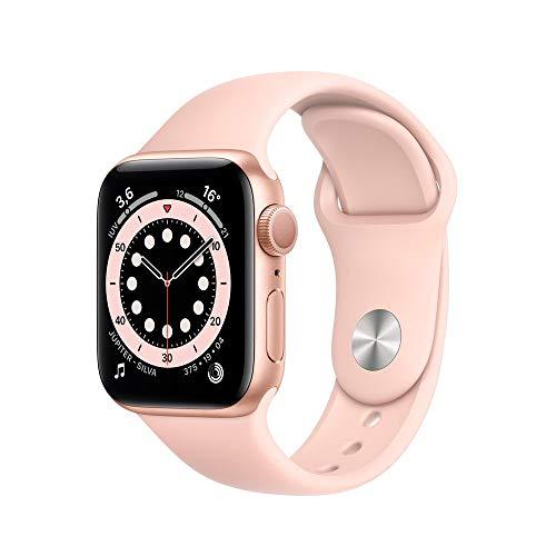 Apple Watch Series 6 Dourada com Pulseira Esportiva Areia Rosa, 40 mm, Bluetooth e 32 GB