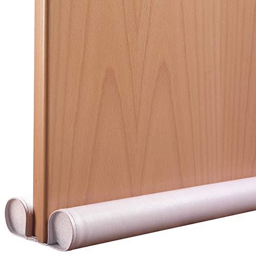 Tochtstrip voor deuren/deurafdichting van kunstleer - 80cm wit, geen wegglijden, afwasbaar & inklapbaar, windstopper, dikte roller Ø 40 mm