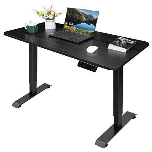 Homall Höhenverstellbarer Schreibtisch 110 cm Elektrisch Stufenlos Ergonomischer Computertisch mit Holz Tischplatte und Memory Funktion (Schwarz)