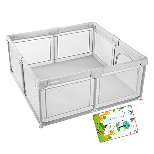 FF Portable Play Centre Fence with Crawling Mattress, Baby Safety Playpen Playard for Indoor Outdoor Acitivity Center, 180×200×70cm (Color : Gray, Size : 180×200×70cm)