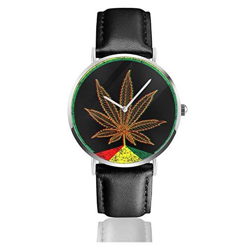 Reloj de pulsera de cuarzo, cannabis marihuana resistente al agua con correa de cuero de la PU reloj clásico casual de acero inoxidable de cuarzo