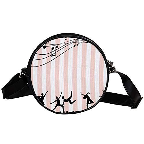 TIZORAX muziek notities met ballerina's ballet meisje op toetsenbord kleine ronde Crossbody portemonnee schouder tas handtas tas voor vrouwen meisjes