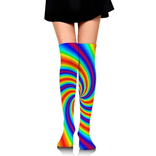NA Damen Oberschenkelhohe Socken Overknee Strümpfe Stiefelsocken Einheitsgröße Batik