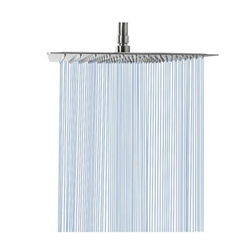 Large Rain Shower Head, NearMoon Luxury Square Stainless Steel Rainfall Showerhead, Waterfall Bath Shower Body Covering, Ceiling or Wall Mount (12 Inch, Brushed Nickel)