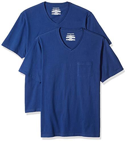 Amazon Essentials Herren T-Shirt, lockere Passform, V-Ausschnitt, Brusttasche, 2er-Pack, Blau (Blue Blu), US M (EU M)