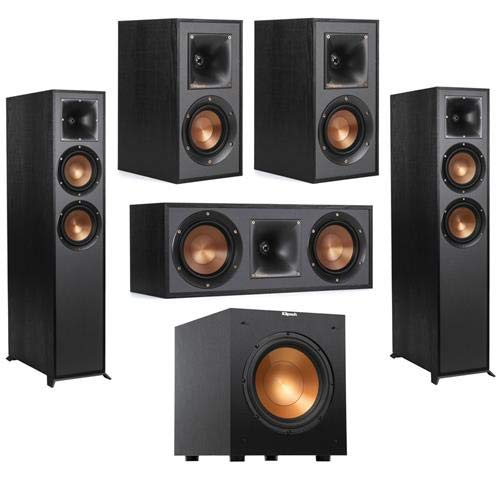 Fantastic Deal! Klipsch 2 Pack R-625FA Dolby Atmos Floor Standing Speaker – Bundle with R-41M Bookshelf Home Speakers, R-52C Center Channel Home Speaker, Reference R-10SW 10″ 300W Powered Subwoofer Black