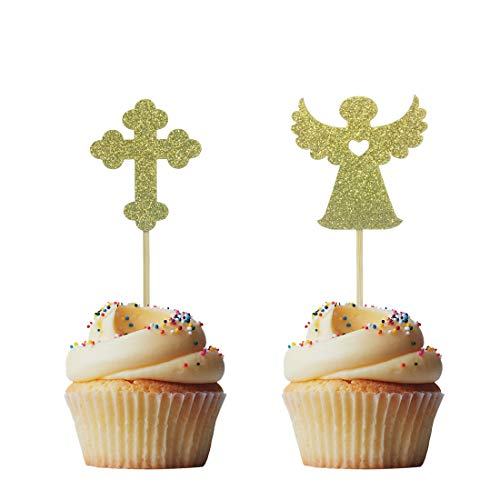 Morndew 24 PCS Gold Jesus Cross Cupcake Toppers with Christian Symbol Crucifix for Jesus Easter Theme Party Birthday Party Wedding Party Decorations