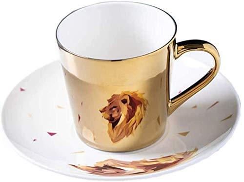 LLDKA Taza de café Espejo Reflejo Espejo Taza de café Reflejo Reflejo Lion Taza y platillo Cerámica Scoop Style,Oro