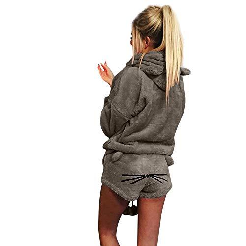 Kleidung 2Pcs Sets Damen Langarm Hoodies Sweatshirt Chic Velour Kapuzenpullover Clubwear Mit Reizvolle Festlich High Waist Kurze Hose Sport Jumpsuit Sets Anzug (Color : Grau A, Einheitsgröße : 3XL)