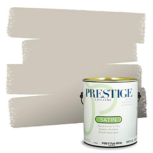 PRESTIGE Paints Interior Paint and Primer In One, 1-Gallon, Satin, Comparable Match of Benjamin Moore* Revere Pewter*
