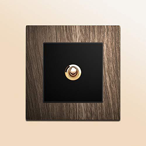 Ploutne Placa Retro de Madera de Aluminio Panel de Grano Interruptor Personalidad 86 Tipo de Interruptor del Panel de Pared del hogar de Tipo Palanca del Interruptor Antiguo Retro nostálgico de Doble