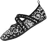 Die Gesunden Allround-Barfußschuhe Damen – Vielseitig Einsetzbare Minimalschuhe Aus Neopren Wasserschuhe, Strandschuhe Badeschuhe (37/38 EU, Weiße Blumen Cross)(Herstellergröße M)